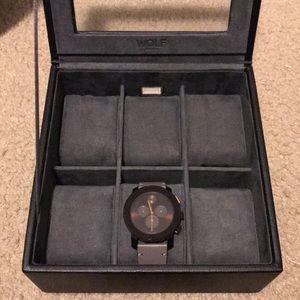 Men's Wolf 6 compartment watch case